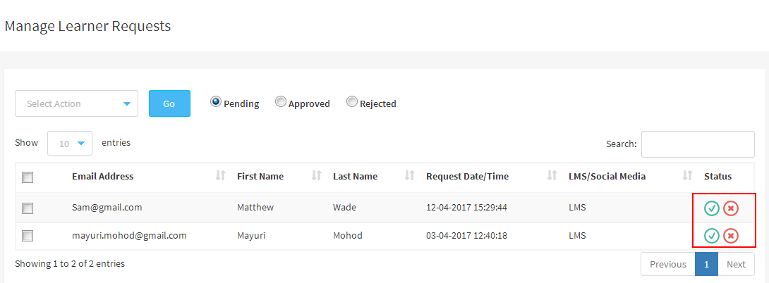 Manage learner requests