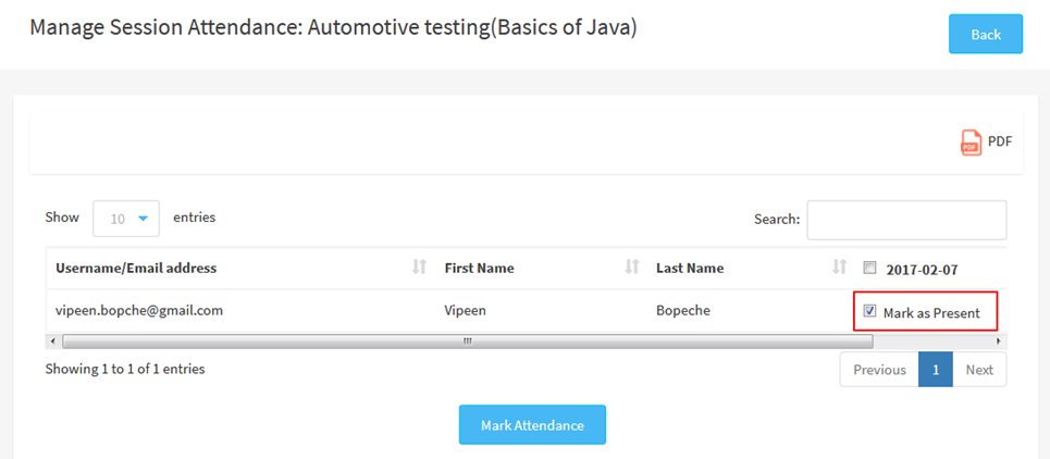 Manage session attendance automative testing