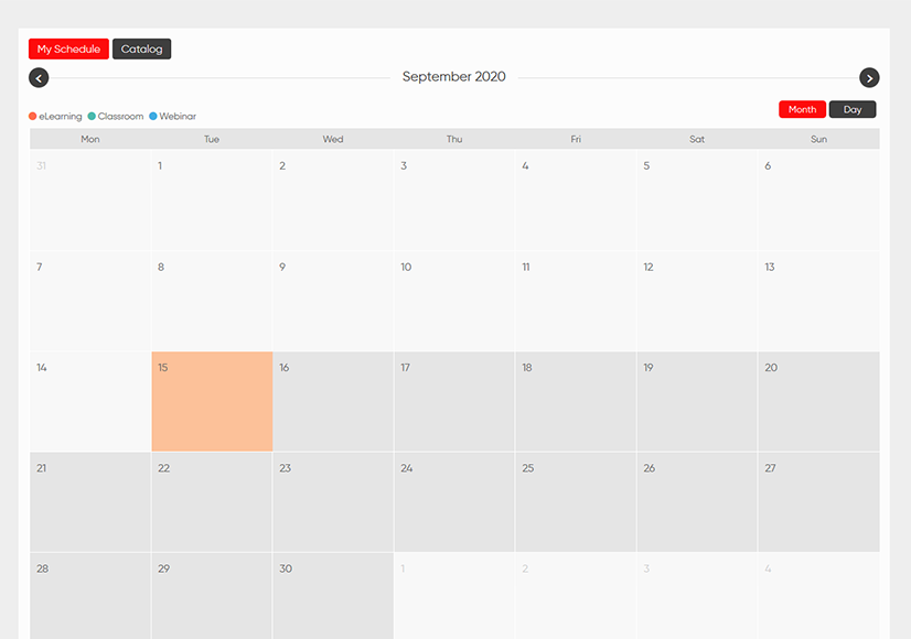 enabling calendar view of the catalog for learners